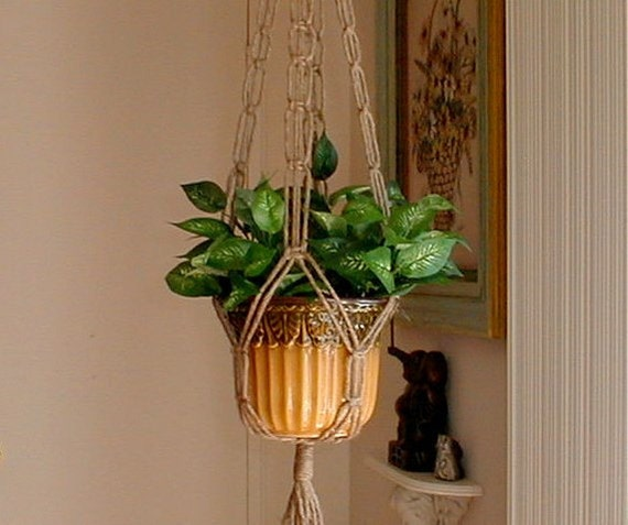 Made in America Macrame Plant Hanger PLAIN and SIMPLE Short