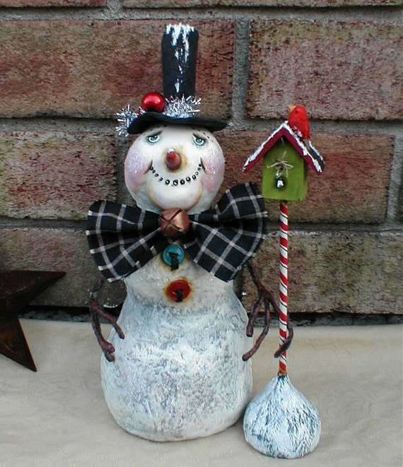 Primitive Christmas SNOWMAN and BIRDHOUSE OOAK Art Doll
