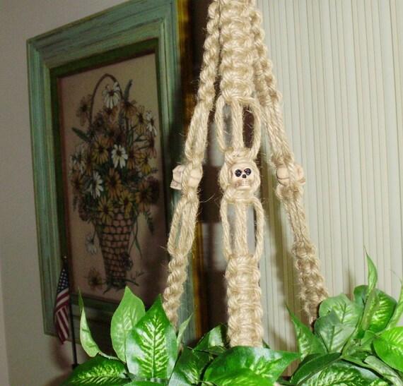 SKULL Beads Macrame Plant Hanger Holder