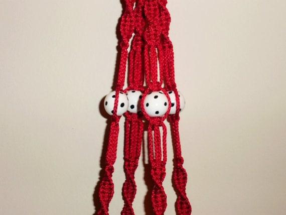 Mini Macrame Plant Hangers Red Black White Polka Dots Made in USA