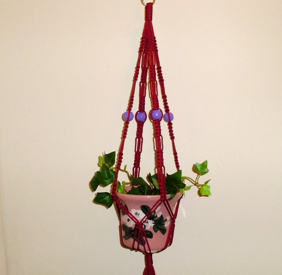 Macrame Plant Hanger Small Planter Holder  BERRY WINE Made in USA