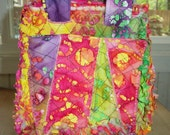 Batik Rag Quilted Cube Bag with Crazy Patch Pocket