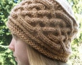 Saxon Braid Cabled Cap in Brown Wool
