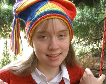 Colorful Knitted Jester Cap