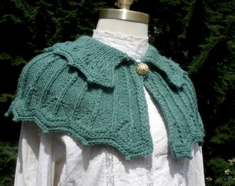 PDF Knitting Pattern, Collared Knitted Capelet, Digital download
