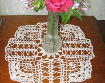 Cross and Fan Textured Lace Doily