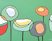 Poppies on Green  - Original Oil Painting 14 x 20 - Modern Poppy Art