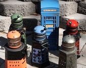 Dr Who one Green Dalek found object sculpture