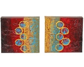 ORIGINAL Abstract Art Painting 2 PC SET, ea. pc. 10x10x1.5 Social Circles