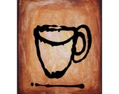 Drip Coffee Abstract Art Print Matted Cream 11x14