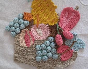 Crochet Fruit and Flower Basket Embellishment