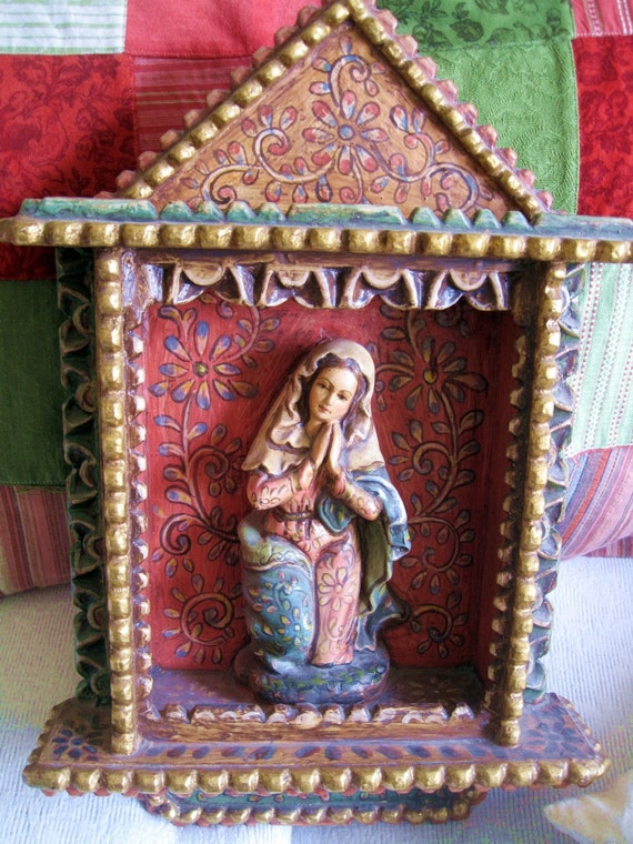SALE Antique Peruvian Handpainted Wooden Retablo Shrine of the Blessed Virgin Mary