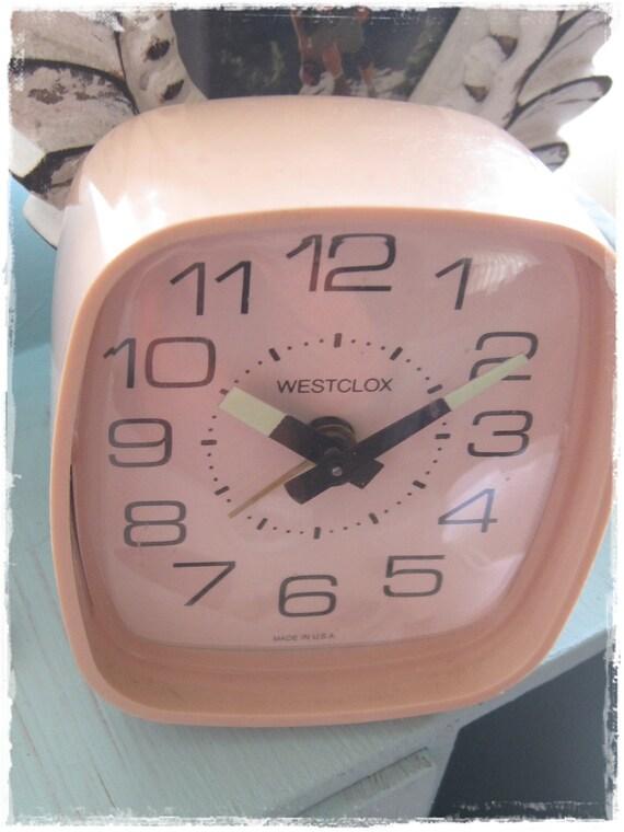 VINTAGE Baby Pink Westclox Alarm Clock