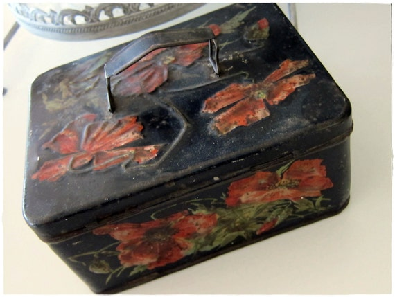ANTIQUE Lidded English Tin with Embossed Reddish Flowers