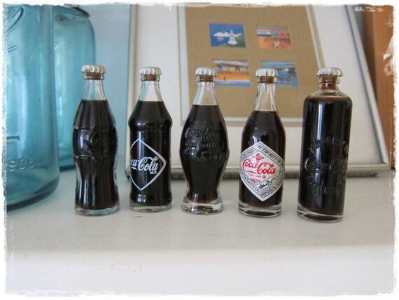 SET of 5 Vintage Miniature Coca Cola Bottles