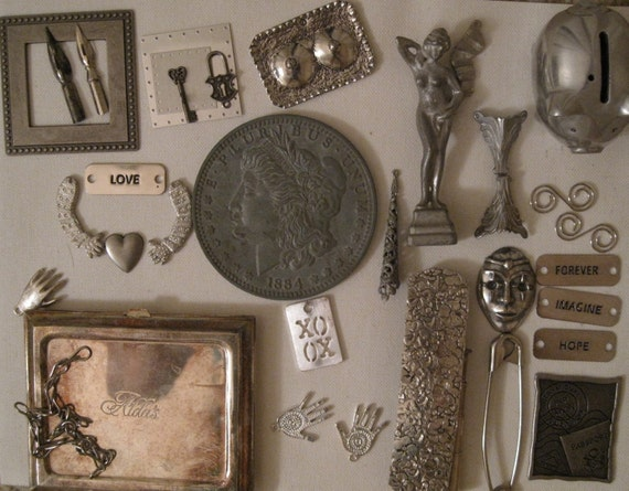 LARGE LOT OF FOUND SILVER AND PEWTER OBJECTS FOR ALTERED ART ASSEMBLAGE