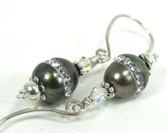 Pearl, Cubic Zirconia, Swarovski Crystal  Sterling  Silver Earrings