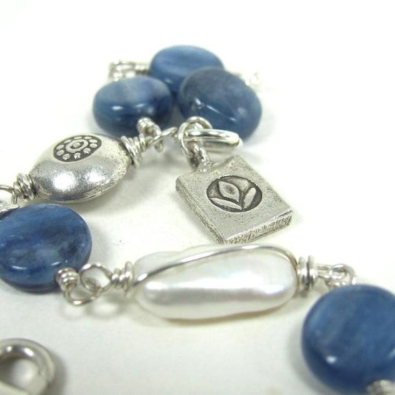 Kyanite, Pearl, Hill Tribe Fine Silver Bracelet