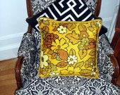 Vintage 70s Pillows - Mod Floral Hippie Bohemian Flower Power Throw Pillows - Vintage Home Decor Housewares Yellow Bohemian Boho