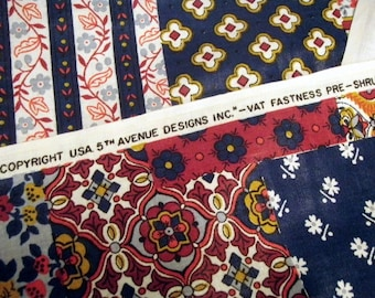 Vintage Fabric Craft Supplies Sewing Quilting Retro Yardage Glazed Finish 70s Screen Printed Floral Maroon Blue Hippie Bohemian