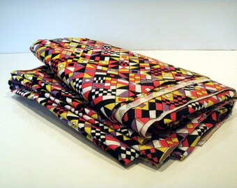 Vintage Fabric Craft Supplies Tools Fabric by the Yard Concord Fabrics Geometric Black White Red Yellow Purple 45  x 1 Yd Upholstery