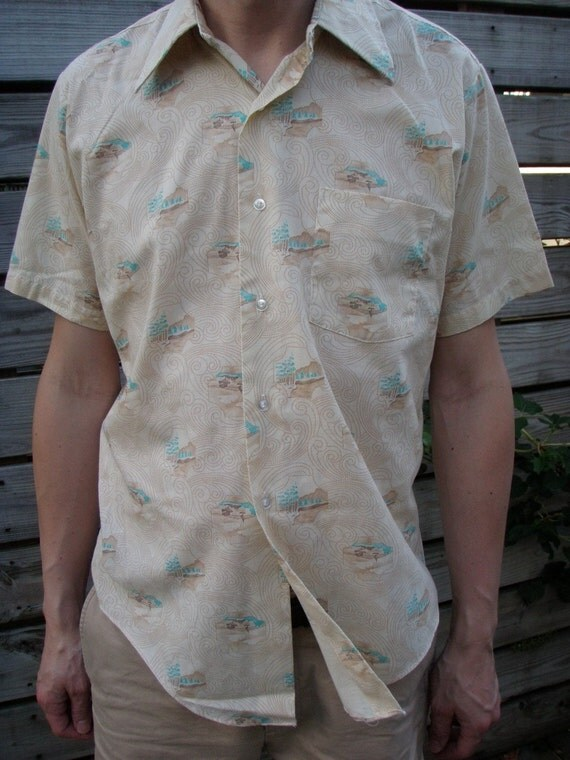 Mens Shirt Vintage 70s by Filene's Boston Short Sleeeve Size 16 Peaceful Landscape Illustrations
