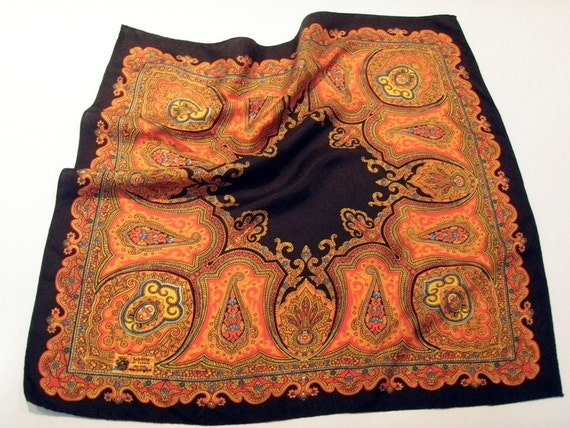 Vintage Liberty of London Silk Scarf Made in England Hand Rolled Edges Gorgeous Detailed