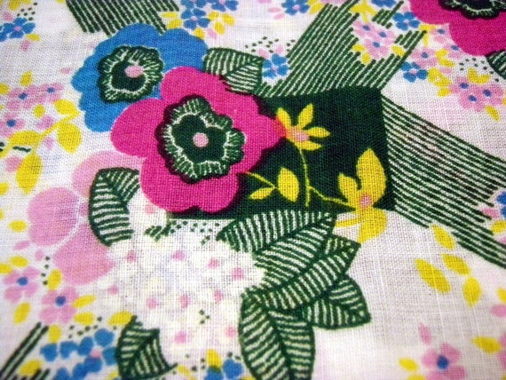 Vintage Fabric 70s Flower Power Craft Supplies Retro Floral Cotton Sewing Quilting Fuschia Green Yellow Fabric By The Yard