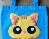 SALE  Price Reduced Orange Tabby Kitty Cupcake Tote Bag