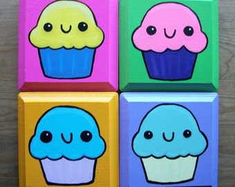 Happy Cupcakes Wall Decor Set of Four Plaques