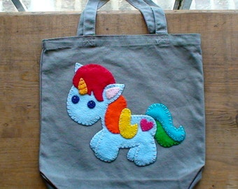 Rainbow Unicorn Tote Bag made to order
