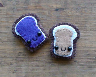 Peanut Butter and Jelly Bread Magnet Set made to order choose your jelly