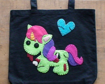 Zombie Unicorn Applique Tote Bag made to order