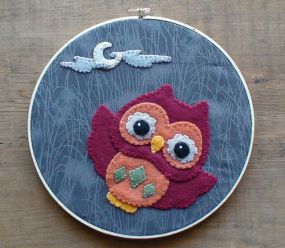 SALE Baby Owl in the Night Sky Embroidery Hoop Wall Hanging