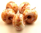 5 White with Cinnamon spice Frit Lampwork Bead Set SRAF34 - ferrarioriginalbeads