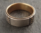 Wedding Band - Sterling Ring w/ 14k Gold Lining and 14k Gold Granules