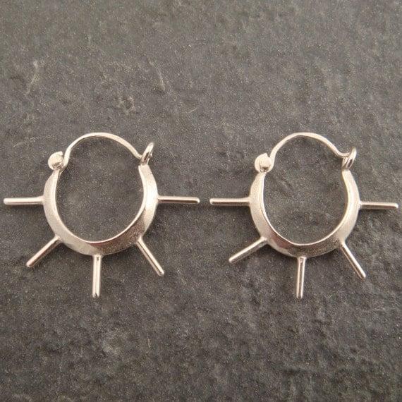 Earrings - Sterling Silver Spoked Hoops - Handmade in Seattle