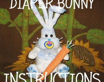 How to make a BUNNY from DIAPERS. GR8 for Baby's 1st Easter or baby shower diaper cake topper