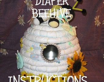 "INSTRUCTIONS How To Make a BEEHIVE from diapers. Great Gender Reveal idea; ""What's it gonna BEE?"""