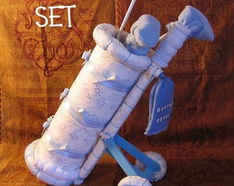 Instructions to make this adorable BABYS 1st GOLF SET Diaper Cake Centerpiece baby boy or girl gift present unique. Directions - Pattern.