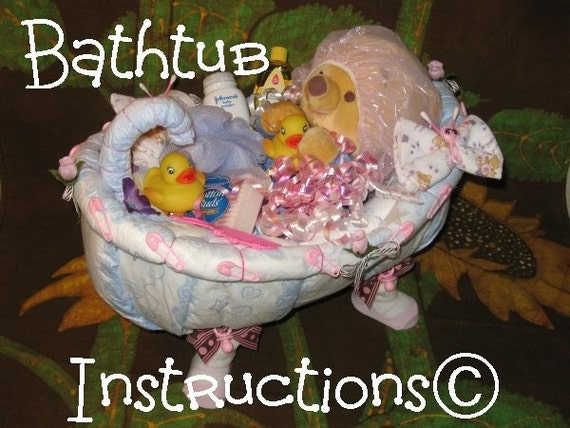 learn 2 make this adorable bathtub diaper cake fill it up. Black Bedroom Furniture Sets. Home Design Ideas