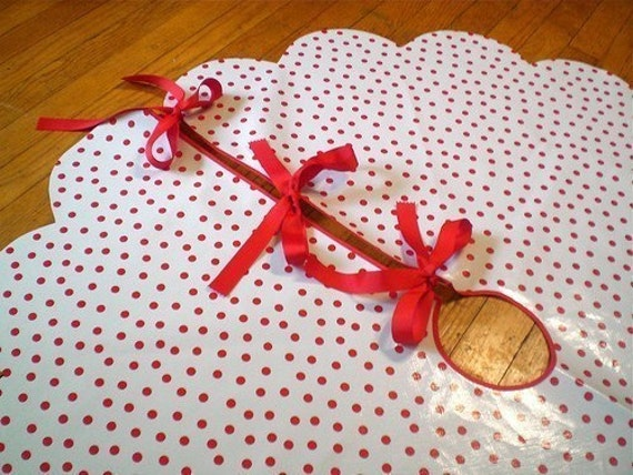 Oilcloth Christmas Tree Skirts In Red Polka Dots By Modern