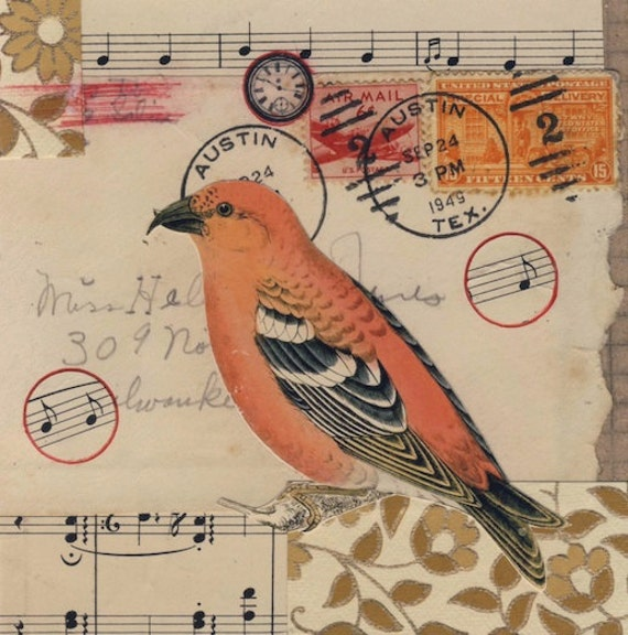 LOVE SONG 2 original mixed media VINTAGE paper collage