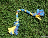 Fleece bone dog toy - blue and yellow