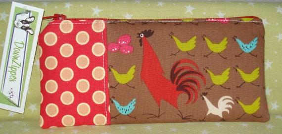 Running Chickens - Fabric Zipper Carrier Pouch
