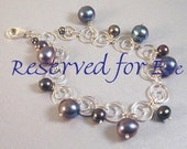 Reserved For Eve -- Peacock Pearl and Sterling Circles Bracelet