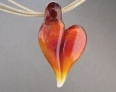 Warm Orange and Peach Valentine Borosilicate Heart Necklace