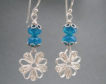Sterling Daisy and Caribbean Blue Rondelle Earrings
