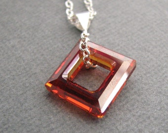 Crystal Diamond Necklace - Sterling Silver in Light Red