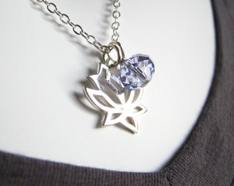 Lotus Flower Necklace - Free Shipping, Charm Necklace, LIght Blue Crystal, Sterling Silver